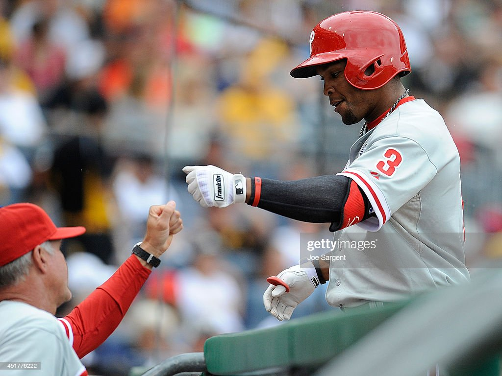 <a gi-track='captionPersonalityLinkClicked' href=/galleries/search?phrase=Marlon+Byrd&family=editorial&specificpeople=217377 ng-click='$event.stopPropagation()'>Marlon Byrd</a> #3 of the Philadelphia Phillies celebrates his solo home run during the seventh inning against the Pittsburgh Pirates on July 6, 2014 at PNC Park in Pittsburgh, Pennsylvania.