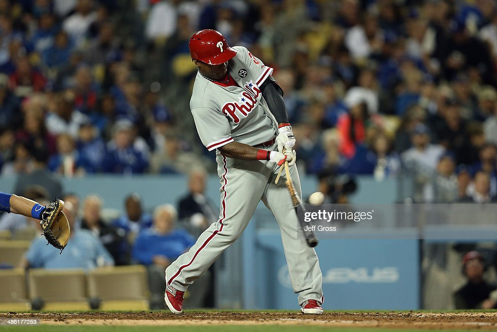 <a gi-track='captionPersonalityLinkClicked' href=/galleries/search?phrase=Marlon+Byrd&family=editorial&specificpeople=217377 ng-click='$event.stopPropagation()'>Marlon Byrd</a> #3 of the Philadelphia Phillies hits a broken bat double and drives in a run against the Los Angeles Dodgers in the fifth inning at Dodger Stadium on April 22, 2014 in Los Angeles, California.