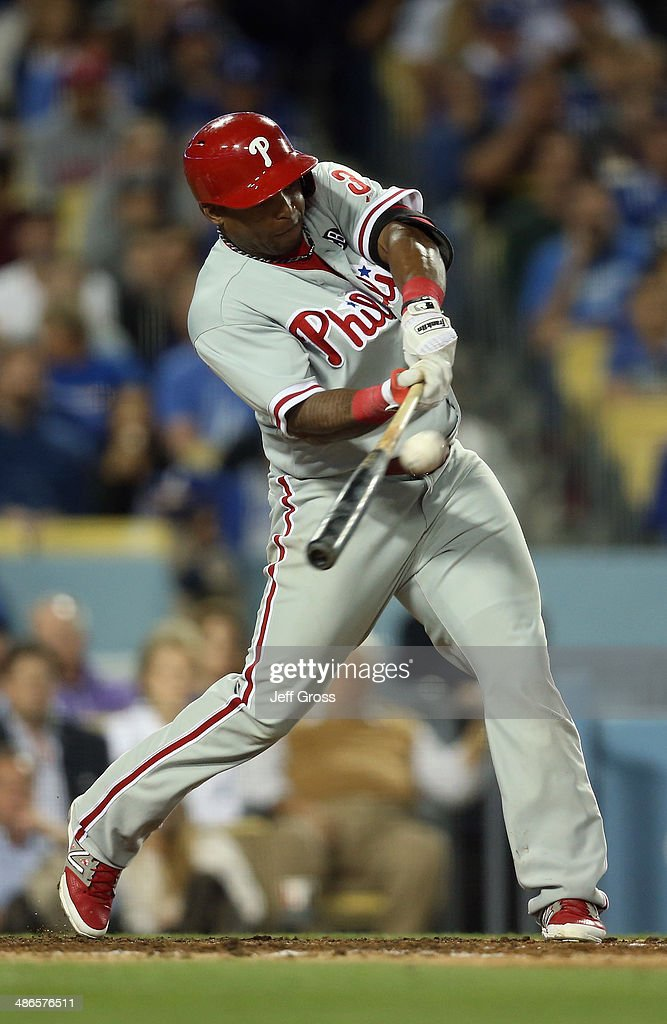 <a gi-track='captionPersonalityLinkClicked' href=/galleries/search?phrase=Marlon+Byrd&family=editorial&specificpeople=217377 ng-click='$event.stopPropagation()'>Marlon Byrd</a> #3 of the Philadelphia Phillies hits a double that scores two runs in the fifth inning against the Los Angeles Dodgers at Dodger Stadium on April 24, 2014 in Los Angeles, California.