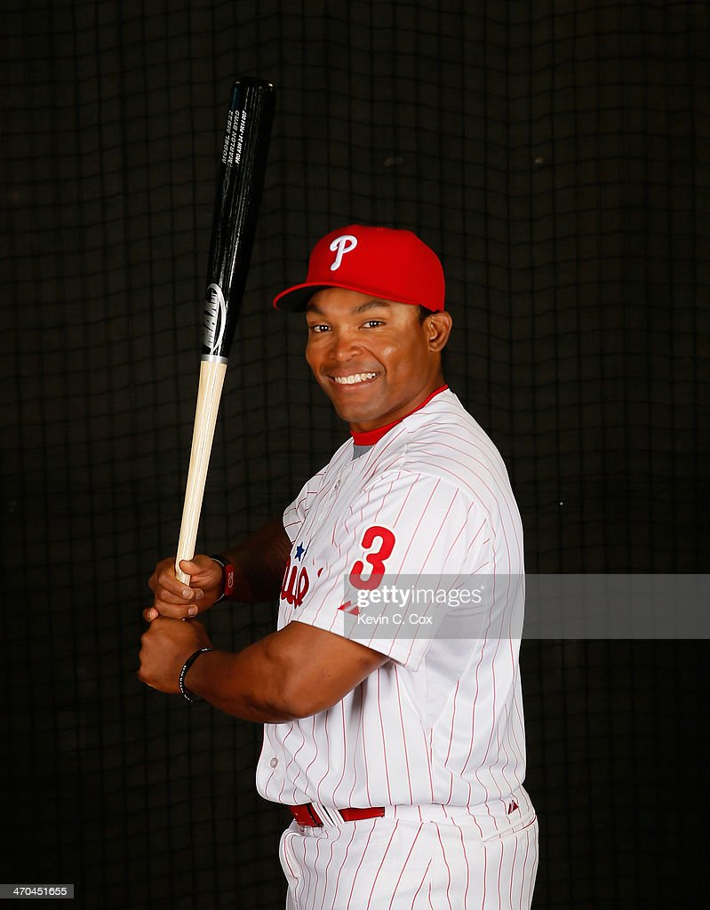 <a gi-track='captionPersonalityLinkClicked' href=/galleries/search?phrase=Marlon+Byrd&family=editorial&specificpeople=217377 ng-click='$event.stopPropagation()'>Marlon Byrd</a> #3 of the Philadelphia Phillies poses for a portrait on February 19, 2014 at Bright House Field in Clearwater, Florida.