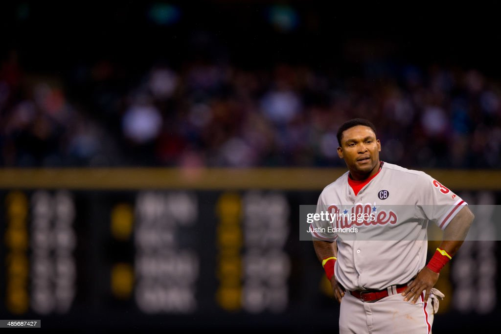 <a gi-track='captionPersonalityLinkClicked' href=/galleries/search?phrase=Marlon+Byrd&family=editorial&specificpeople=217377 ng-click='$event.stopPropagation()'>Marlon Byrd</a> #3 of the Philadelphia Phillies reacts after the Phillies failed to score during the fourth inning against the Colorado Rockies at Coors Field on April 19, 2014 in Denver, Colorado.