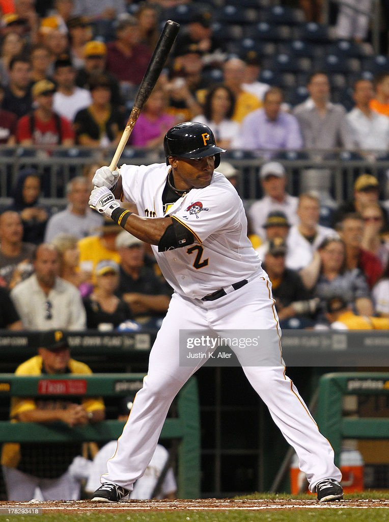 Marlon Byrd #2 of the Pittsburgh Pirates bats for the first time as a Pittsburgh Pirates during the game against the Milwaukee Brewers on August 28, 2013 at PNC Park in Pittsburgh, Pennsylvania.