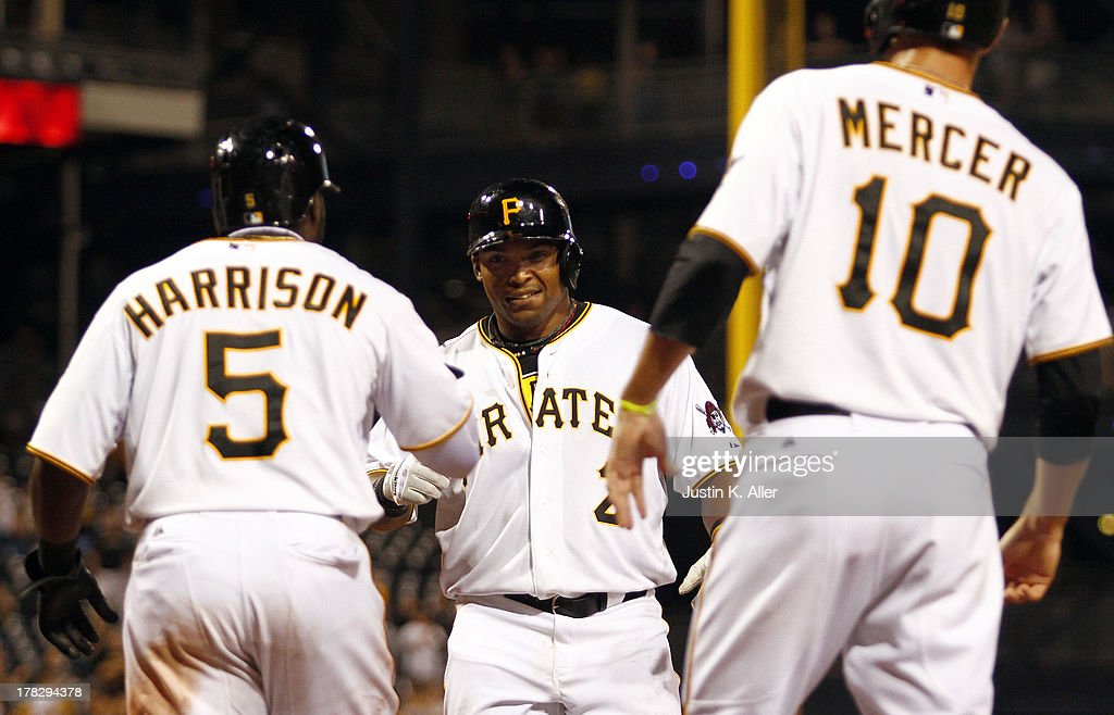 <a gi-track='captionPersonalityLinkClicked' href=/galleries/search?phrase=Marlon+Byrd&family=editorial&specificpeople=217377 ng-click='$event.stopPropagation()'>Marlon Byrd</a> #2 of the Pittsburgh Pirates celebrates after hitting a three run home run in the seventh inning against the Milwaukee Brewers during the game on August 28, 2013 at PNC Park in Pittsburgh, Pennsylvania.