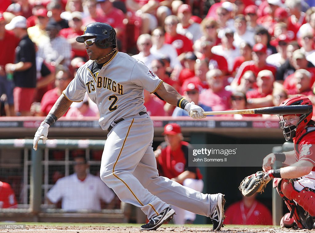 <a gi-track='captionPersonalityLinkClicked' href=/galleries/search?phrase=Marlon+Byrd&family=editorial&specificpeople=217377 ng-click='$event.stopPropagation()'>Marlon Byrd</a> #2 of the Pittsburgh Pirates hits a single during their game against the Cincinnati Reds at Great American Ball Park on September 28, 2013 in Cincinnati, Ohio.