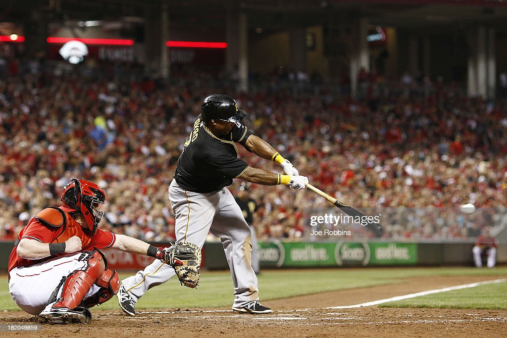 <a gi-track='captionPersonalityLinkClicked' href=/galleries/search?phrase=Marlon+Byrd&family=editorial&specificpeople=217377 ng-click='$event.stopPropagation()'>Marlon Byrd</a> #2 of the Pittsburgh Pirates singles in the eighth inning against the Cincinnati Reds during the game at Great American Ball Park on September 27, 2013 in Cincinnati, Ohio. The Pirates won 4-1.