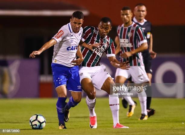 Marlon Freitas of Fluminense struggles for the ball with Thiago Neves of Cruzeiro during a match between Fluminense and Cruzeiro as part of...