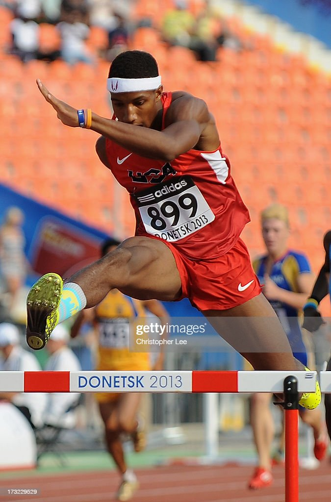 Marlon Humphrey of USA in the Boys 400m Hurdles Round 1 during Day 1 of the IAAF World Youth Championships at the RSC Olimpiyskiy Stadium on July 10, 2013 in Donetsk, Ukraine.