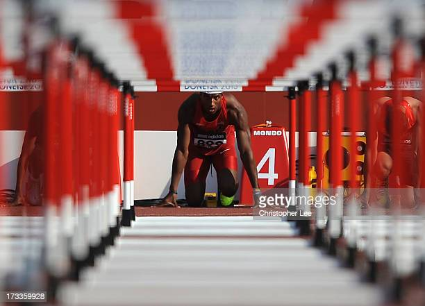 Marlon Humphrey of USA looks down the track as he prepares for the Boys 110m Hurdles SemiFinal during Day 3 of the IAAF World Youth Championships at...