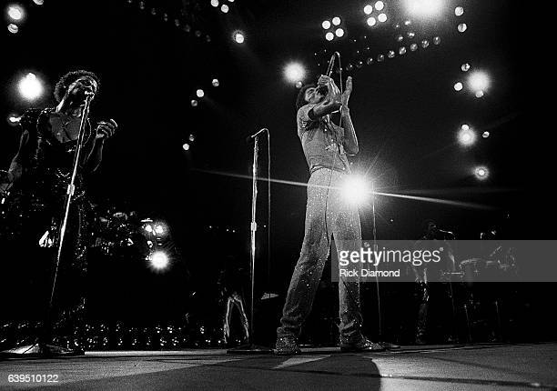 Marlon Jackson Michael Jackson and Jackie Jackson perform during The Jacksons Triumph Tour at The Omni Coliseum in Atlanta Georgia July 22 1981