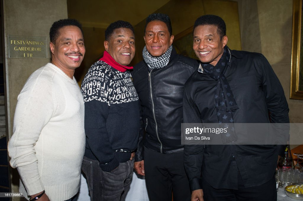 Marlon Jackson, Tito Jackson, Jermaine Jackson and Jackie Jackson of The Jacksons perform at Cafe Opera on February 14, 2013 in Stockholm, Sweden.