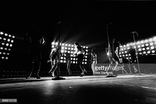 Marlon Jackson Tito Jackson Michael Jackson Jackie Jackson and Randy Jackson perform during The Jacksons Triumph Tour at The Omni Coliseum in Atlanta...