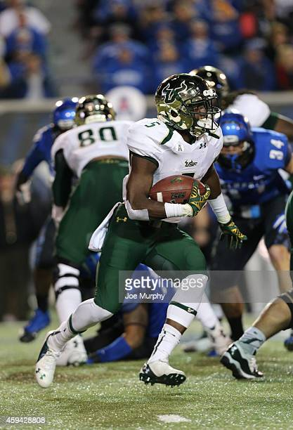 Marlon Mack of the South Florida Bulls runs with the ball against the Memphis Tigers on November 22 2014 at Liberty Bowl Memorial Stadium in Memphis...