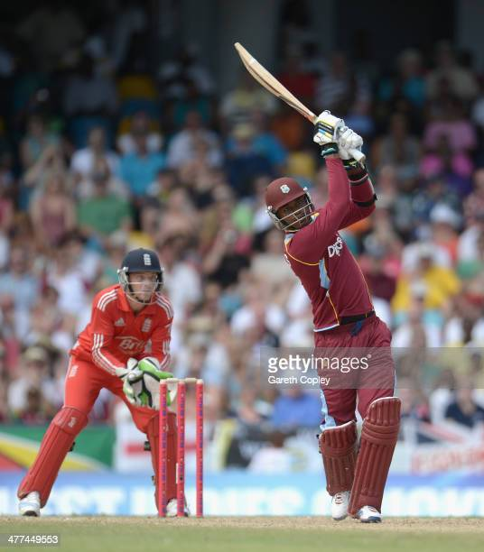Marlon Samuels of the West Indies bats during the 1st T20 International between the West Indies and England at Kensington Oval on March 9 2014 in...