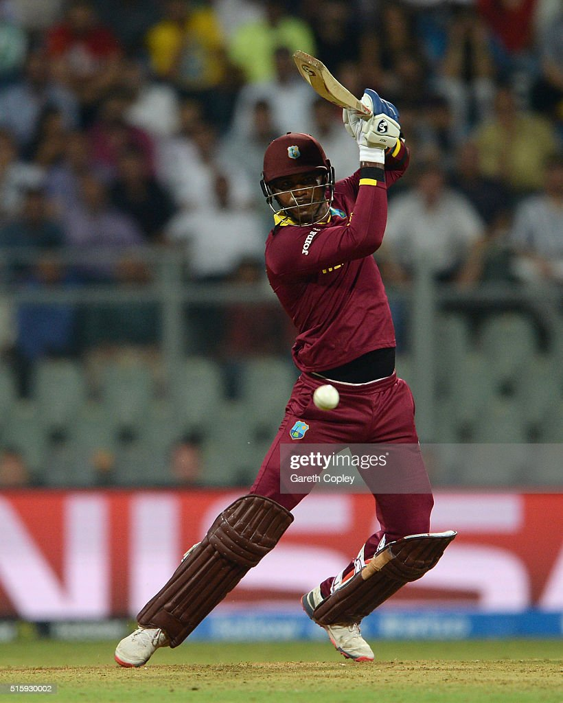 <a gi-track='captionPersonalityLinkClicked' href=/galleries/search?phrase=Marlon+Samuels&family=editorial&specificpeople=185235 ng-click='$event.stopPropagation()'>Marlon Samuels</a> of the West Indies bats during the ICC World Twenty20 India 2016 Super 10s Group 1 match between West Indies and England at Wankhede Stadium on March 16, 2016 in Mumbai, India.