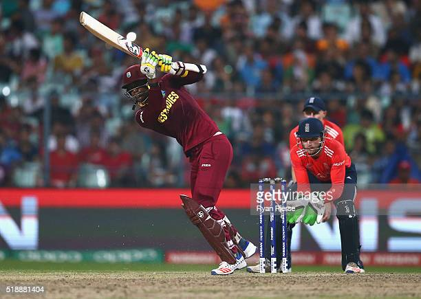 Marlon Samuels of the West Indies bats during the ICC World Twenty20 India 2016 Final match between England and West Indies at Eden Gardens on April...