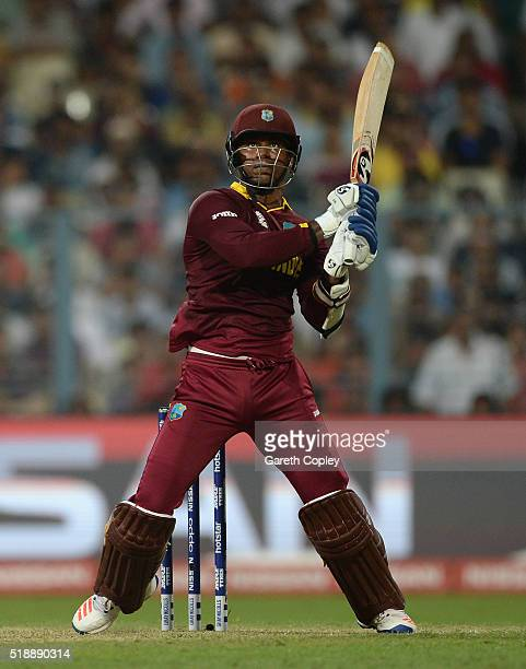 Marlon Samuels of the West Indies bats during the ICC World Twenty20 India 2016 Final between England and the West Indies at Eden Gardens on April 3...