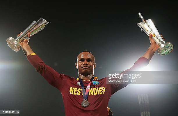Marlon Samuels of the West Indies celebrates his teams win after defeating England during the ICC World Twenty20 India 2016 Final between England and...