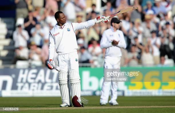 Marlon Samuels of the West Indies celebrates reaching his century during day one of the second Test match between England and the West Indies at...