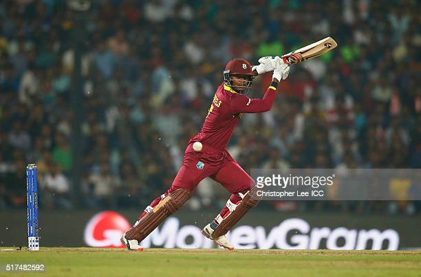 Marlon Samuels of the West Indies in action during the ICC World Twenty20 India 2016 Group 1 match between South Africa and West Indies at the...