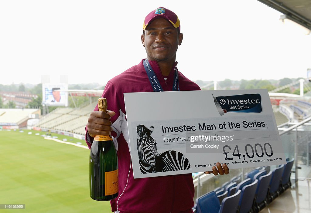 <a gi-track='captionPersonalityLinkClicked' href=/galleries/search?phrase=Marlon+Samuels&family=editorial&specificpeople=185235 ng-click='$event.stopPropagation()'>Marlon Samuels</a> of the West Indies with his man of the series award after day five of the third 3rd Investec Test match between England and the West Indies at Edgbaston on June 11, 2012 in Birmingham, England.
