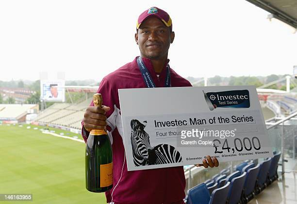 Marlon Samuels of the West Indies with his man of the series award after day five of the third 3rd Investec Test match between England and the West...