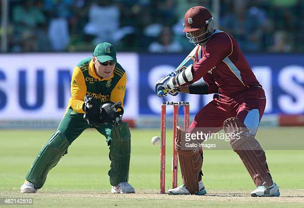 Marlon Samuels of West Indies about to cut a delivery during the 4th Momentum ODI between South Africa and West Indies at St Georges Park on January...