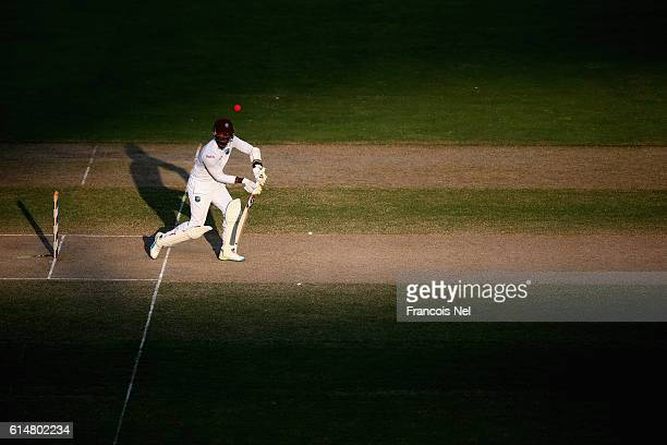 Marlon Samuels of West Indies bats during Day Three of the First Test between Pakistan and West Indies at Dubai International Cricket Ground on...