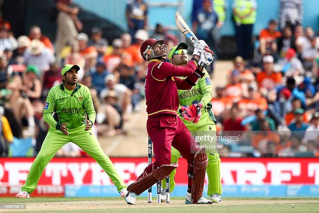 <a gi-track='captionPersonalityLinkClicked' href=/galleries/search?phrase=Marlon+Samuels&family=editorial&specificpeople=185235 ng-click='$event.stopPropagation()'>Marlon Samuels</a> of West Indies bats during the 2015 ICC Cricket World Cup match between Pakistan and the West Indies at Hagley Oval on February 21, 2015 in Christchurch, New Zealand.