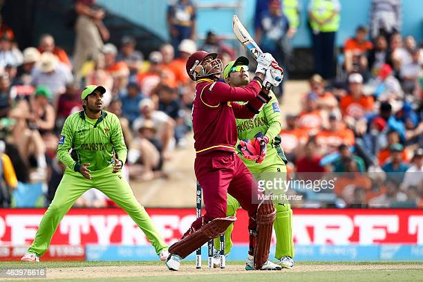 Marlon Samuels of West Indies bats during the 2015 ICC Cricket World Cup match between Pakistan and the West Indies at Hagley Oval on February 21...