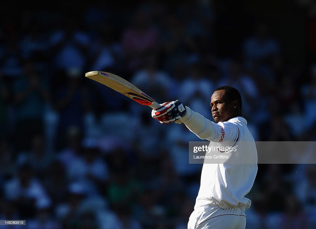 <a gi-track='captionPersonalityLinkClicked' href=/galleries/search?phrase=Marlon+Samuels&family=editorial&specificpeople=185235 ng-click='$event.stopPropagation()'>Marlon Samuels</a> of West Indies celebrates his century during the Second Investec Test Match between England and West Indies at Trent Bridge on May 25, 2012 in Nottingham, England.