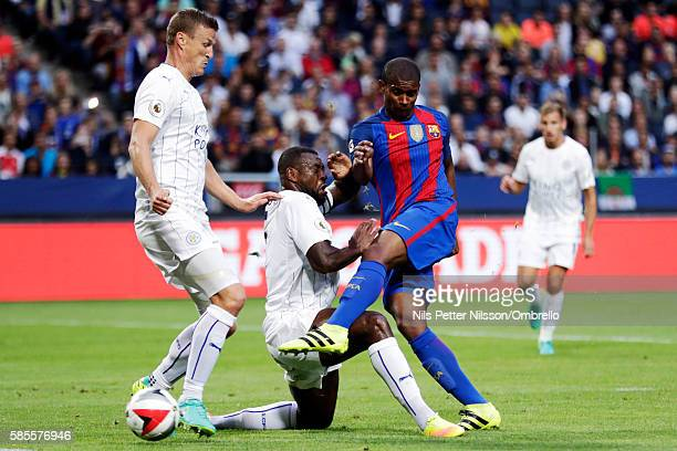 Marlon Santos of FC Barcelona shoots during the International Champions Cup match between Leicester City FC and FC Barcelona at Friends arena on...