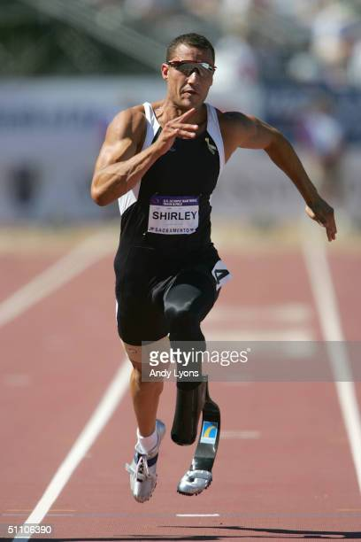 Marlon Shirley competes in the Men's Paralympics 100 Meter Dash during the US Olympic Team Track Field Trials on July 17 2004 at the Alex G Spanos...