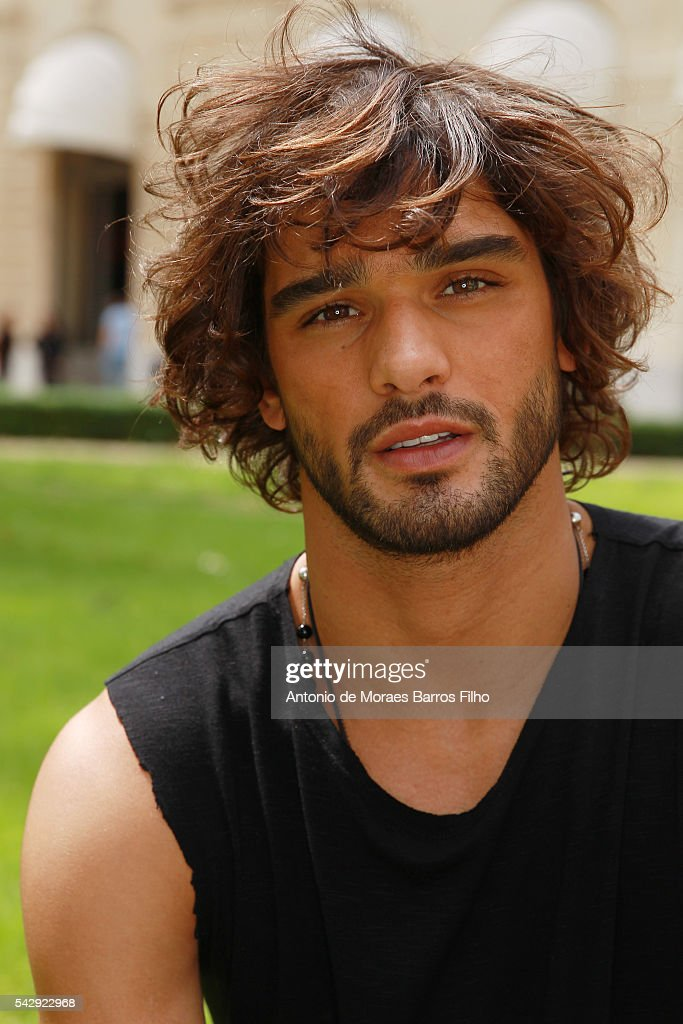 Marlon Teixeira poses backstage before the Balmain Menswear Spring/Summer 2017 show as part of Paris Fashion Week on June 25, 2016 in Paris, France.