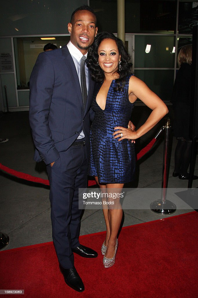 Marlon Wayans (L) and Essence Atkins attend the 'A Haunted House' Los Angeles premiere held at the ArcLight Hollywood on January 3, 2013 in Hollywood, California.