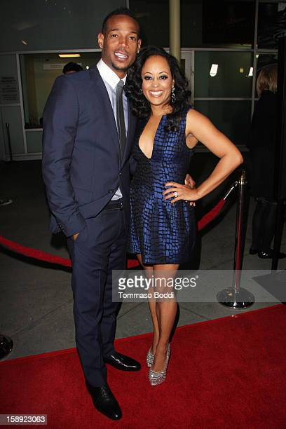 Marlon Wayans and Essence Atkins attend the 'A Haunted House' Los Angeles premiere held at the ArcLight Hollywood on January 3 2013 in Hollywood...