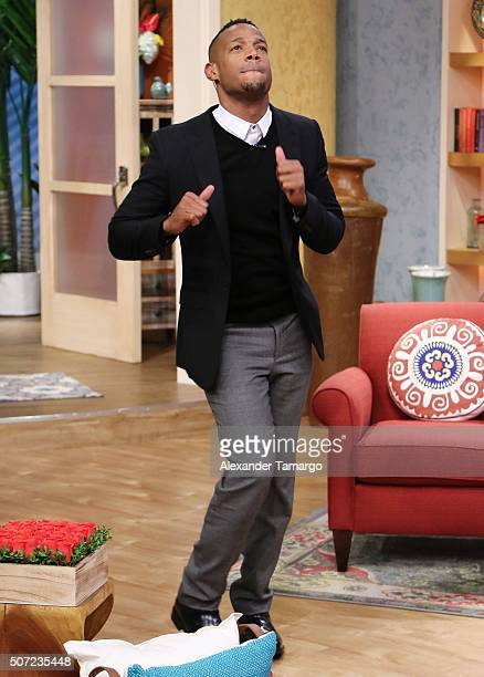Marlon Wayans is seen on the set of 'Despierta America' to promote the film '50 Shades of Black' at Univision Studios on January 28 2016 in Miami...