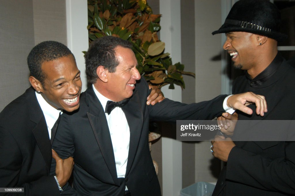 Marlon Wayons, Garry Shandling and Damon Wayons during 55th Annual Primetime Emmy Awards - Backstage and Audience at The Shrine Auditorium in Los Angeles, California, United States.