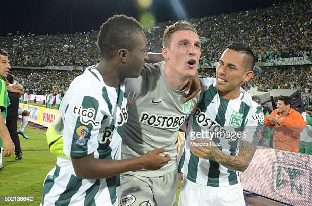 Marlos Moreno Franco Armani and Gilberto García celebrate after winning a second leg final match between Atletico Nacional and Atletico Junior as...