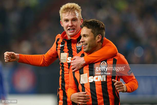 Marlos of Shakhtar Donetsk celebrates scoring his team's first goal with his team mate Viktor Kovalenko during the UEFA Europa League round of 32...