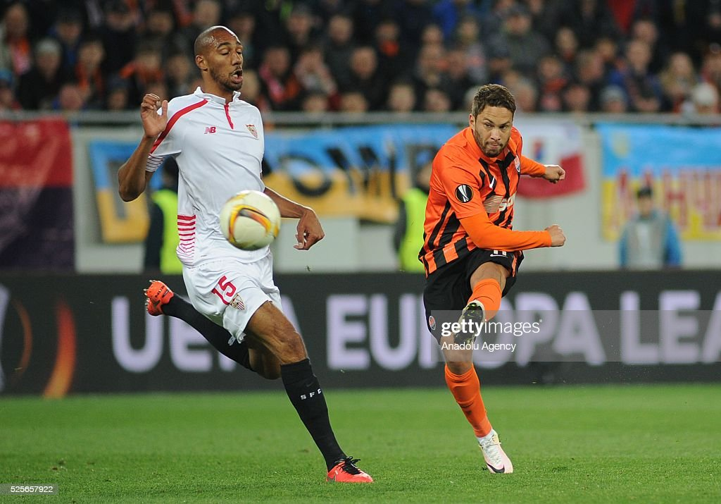 Marlos of Shakhtar Donetsk (R) competes for the ball with Steven N'Zonzi (L) of Sevilla FC during the UEFA Europa League Semi-finals soccer match between Shakhtar Donetsk and Sevilla FC at Lviv Arena stadium on April 28, 2016, in Lviv, Ukraine.