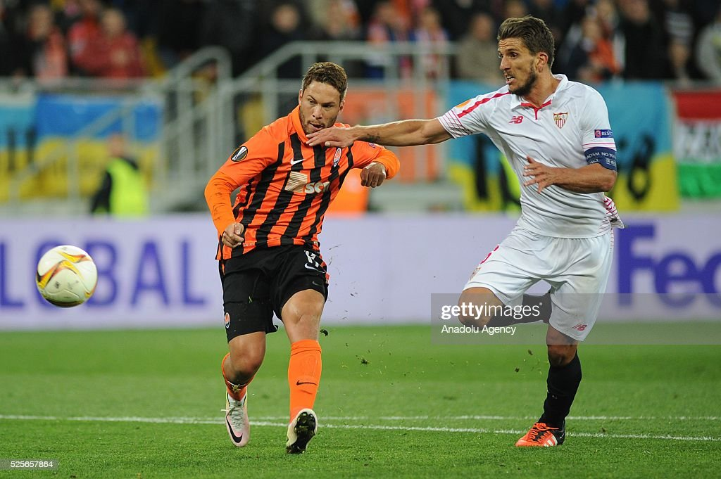 Marlos of Shakhtar Donetsk (L) scores a goal during the UEFA Europa League Semi-finals soccer match between Shakhtar Donetsk and Sevilla FC at Lviv Arena stadium on April 28, 2016, in Lviv, Ukraine.