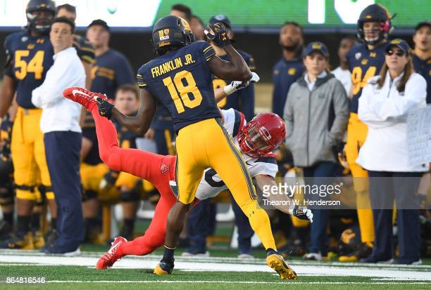 Marloshawn Franklin Jr #18 of the California Golden Bears is called for a pass interference penalty against Cedric Peterson of the Arizona Wildcats...