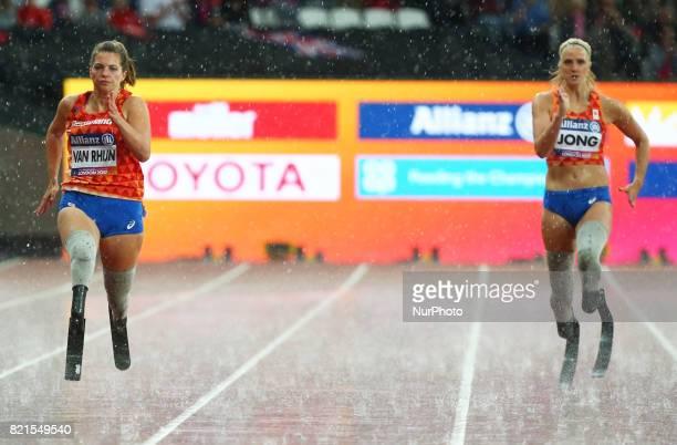 LR Marlou van Rhijn and Fleur Jong of Nederland winner of Women's 200m T44 Final during World Para Athletics Championships at London Stadium in...