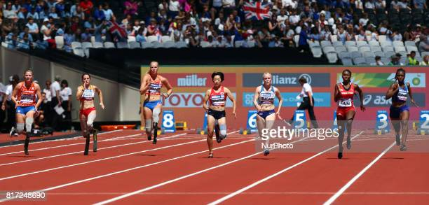 Marlou van Rhijn Sara Andres Barrio Fleur Jong lr Saki Takakuwa and Laura Sugar Nyoshia Cain and Femita Ayanbeku compete in Women's 100m T44 Heat 2...