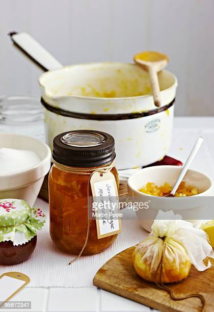 Marmalade on table with ingredients