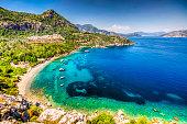 Turunc Bay in Marmaris. Turunc is popular tourist destination in Turkey.