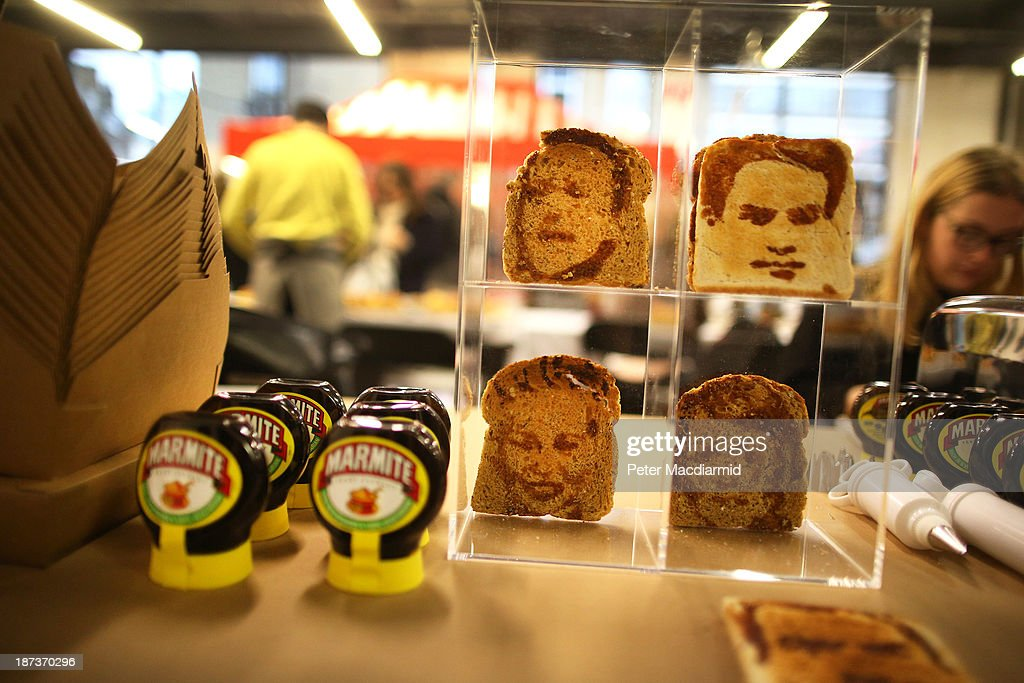 Marmite spread painted toast portraits are displayed at the Experimental Food Society Exhibition on November 8, 2013 in London, England. A collective of food magicians, sonic food artists, cake sculptors, gastronomic tailors, culinary cabaret troupes and a dining conceptualist have gathered together for a two day exhibition featuring their unique edible creations.