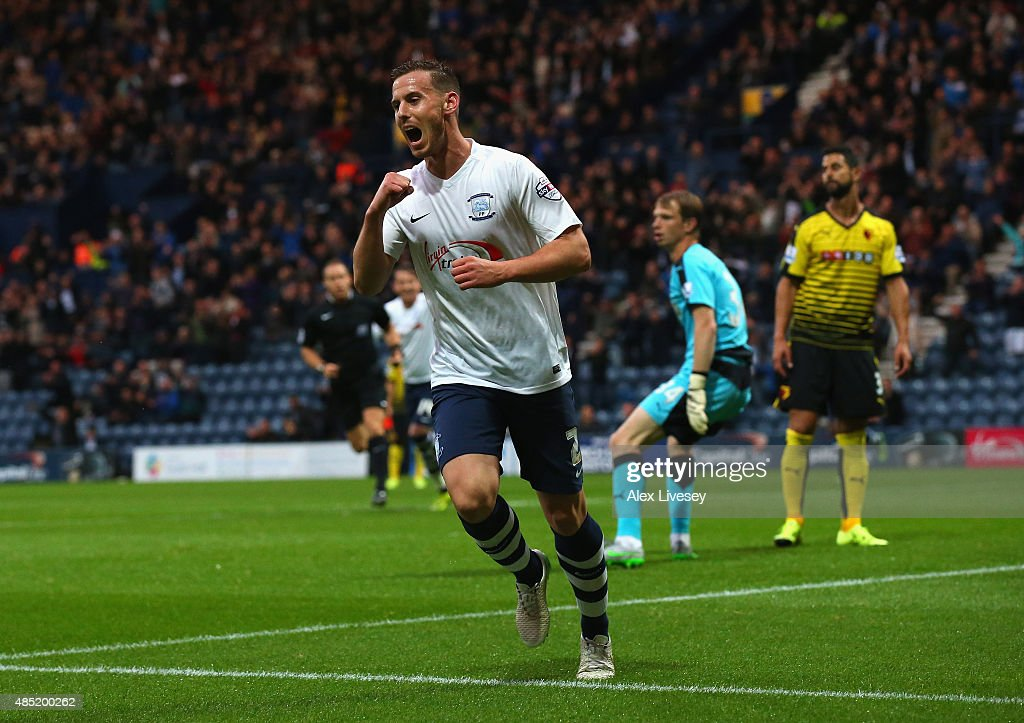 Marnick Vermijl of Preston North End celebrates after scoring the opening goal during the Capital One Cup Second Round match between Preston North End and Watford at Deepdale on August 25, 2015 in Preston, England.