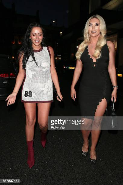 Marnie Simpson and Frankie Essex attend James Ingham's JogOn to Cancer part 5 at Kensington Roof Gardens on April 12 2017 in London England