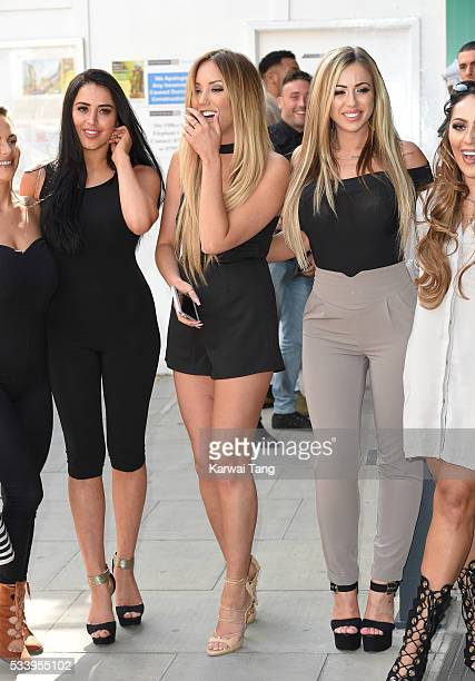 Marnie Simpson Charlotte Crosby and Holly Hagan arrive for the 5th birthday Celebrations of 'Geordie Shore' at MTV London on May 24 2016 in London...
